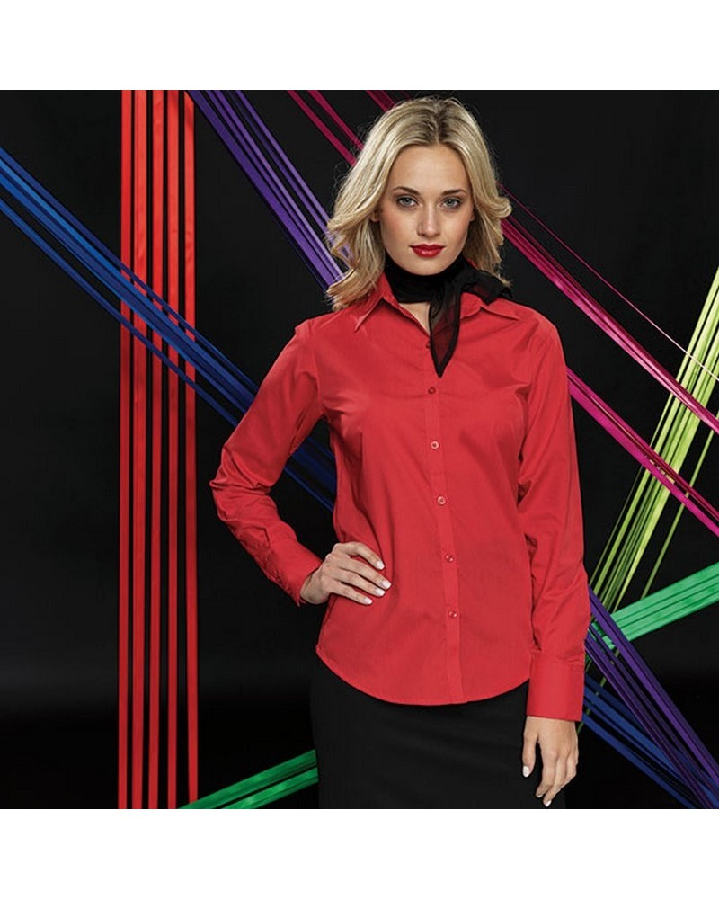 PR300 - Poplin Ladies Lsl Blouse